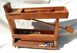 Antique Folk Art Toy Primitive Old Marble Run Wood Game Tower Handmade W Marbles