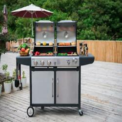 Propane Gas And Charcoal Combo Grill 3-burner Stainless Steel Heavy Duty Firebox
