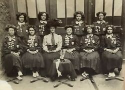 Large Cabinet Photo Women Girl Guides Scouts Majorette Batons Medals Patches