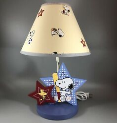 Vintage Snoopy And Woodstock Sports Lamp Tested + Bulb Wood Base Fast Ship
