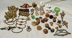Nice Huge Lot Of Miscellaneous Vintage Antique Glass And Wood Drawer Knobs Pulls