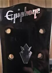 Epiphone Guitar Headstock Logo And 2 Crowns, Die-cut Silver Leaf Decal, Oem Size