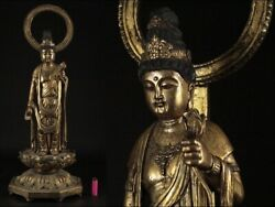 Edo Period Statue Of Kannon Bodhisattva Height 73cm Gold-colored Wood Carving