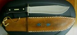 Schrade Old Timer Fixed Blade Bowie Style Knife W/ Custom Tooled Leather Sheath