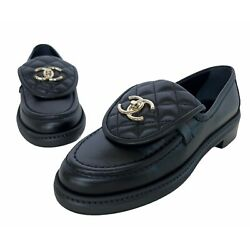 Nib Black Leather Quilted Tab Loafers Size 36
