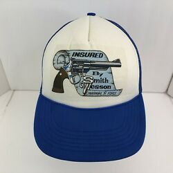 Vintage 80s 90s Insured By Smith And Wesson Snapback Trucker Hat Cap Mesh Rare