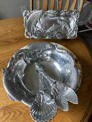 Arthur Court Waterfront Living Salad Bowl 12 Serving Fish Utensils And Tray