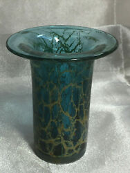 1970s Blue And Yellow / Gold Michel Harris Maltese Glass Vase Signed Mdina