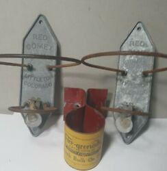 Set 2 Antique Vintage Red Comet Fire Extinguisher Wall Brackets And Fire Grenade