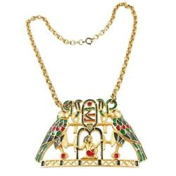 Rare - Vintage Signed And039polciniand039 Egyptian Motif Necklace - Owned By Anne Miller