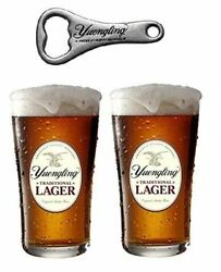 Yuengling Traditional Lager 2 Beer Pint Glasses And 1 Yuengling Bottle Opener Se