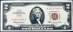 1963 Two Dollar Us Note, Red Seal 2 Bill, Monticello, Nice Uncirculated