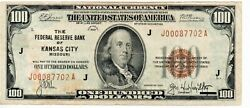 1929 One Hundred Dollar National Currency The Federal Reserve Kansas City
