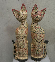Rare Pair Huge Wooden Kitty Cat Sculpture Figurine Wood From Hand Carved Painted