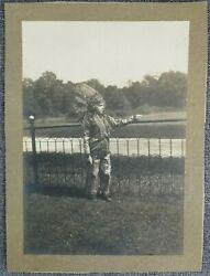 Cabinet Card Photo Boy Child Indian Chief Costume Native American Vintage C1910