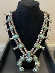 Vintage Sterling Silver Navajo Spider Web Turquoise Squash Blossom 28in Necklace