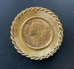 Vintage 1947 Switzerland 20 Franc Gold Coin In 18kt Yellow Gold Pendant/brooch