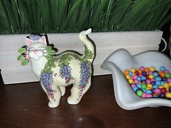 Whimsiclay Amy Lacombe Cat Figurine 2004 Wisteria Flowers 86138 Leaves Whiskers
