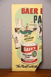 Vintage Baer Brothers Paint Can Cardboard Advertising Sign New York Bear