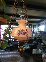 Vintage Swag/ Hanging Lamp With Large White And Blue Glass Shade. Works 2 Switch