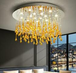 Led Chandelier Modern Luxury Led Crystal Drop Villa Lamps Simple Round Lamp