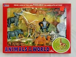 1977 Empire Toy Set Animals Of The World Plastic Poseable Zoo Figures Box 0100