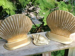 Vintage Brass Clamshell Bookends With Little Brass Conch Shell Nautical