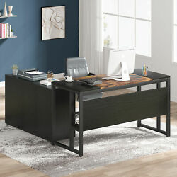 Tribesigns Computer Working Desk With Mobile File Cabinet In Shelves And Drawers