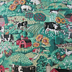 """VTG Fabric Remnant Farm Country Scene by Concord Fabrics. L 36 x W 44"""""""
