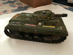 Vintage Marx 1950's Us Tank Division 392 Wind Up Tin Toy Works