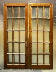 58x81 Pair Antique Vintage Old French Interior Double Doors Window Glass Pane