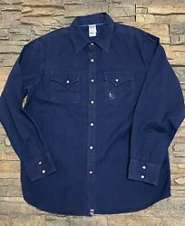 The Menandrsquos Large Navy Textured Pearl Snap Down Embroidered Shirt