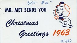 1963 Ny Mets Christmas Card Awesome-rare Item From George Weiss' Estate Auction