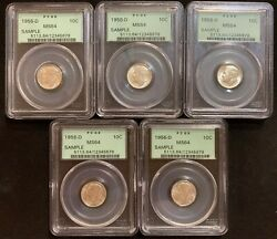 Lot Of 5 Sample Slabs - Pcgs Less Common Style Of Green Label 1956-d Dime