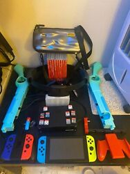 Huge Nintendo Switch Bundle W/ Accessories Extra Controllers 10games See Pic