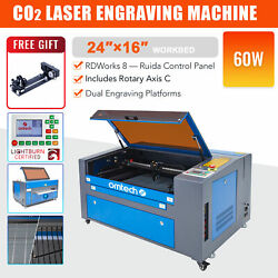 60w 16x24 40x60cm Bed Co2 Laser Engraving Cutter Engraver With Rotation Axis C