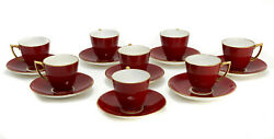 8 Minton England Porcelain Demitasse Cup And Saucers, Circa 1900. Red W Gold Trim