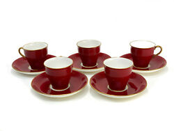 5 Minton England Porcelain Demitasse Cup And Saucers, Circa 1900. Red W Gold Trim