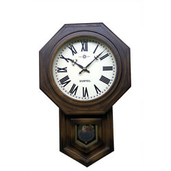 Bonbon Clock Wall Octagon Brown Made Of Wood In Japan Gift Present Antique Retro