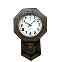 Reiko Clock Wall Made Of Wood Octagon Brown Bonbon In Japan Gift Present Antique