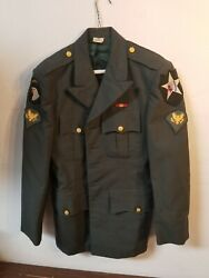 Us Army Enlisted Men's Green Dress Uniform Coat Size 36r Indian Infantry Patches
