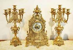 Made In Italy Imported Miscellaneous Goods Clock Candle Stand Brass Living