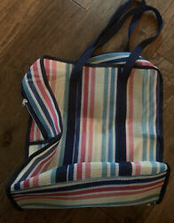 NWOT Large Rainbow Stripe Beach Mesh Shoulder Bag Carrying Tote Picnic Grocery $12.99