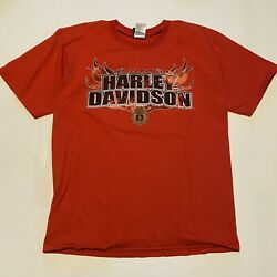 Harley Davidson Motorcycles Firefighter T-shirt Red Size Large Distressed