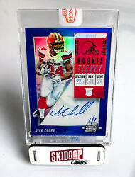 2018 Nick Chubb Rookie Auto 1/1 Panini Honors - Contenders Optic Blue - Browns