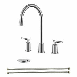 Bathroom Sink Faucet Brushed Nickel 8 Inch 2 Handles 3 Hole 360° Swivel Spout