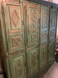 Antique Farmhouse Bohemian Style Large Hand Carved Wood Wall Storage Hutch Cabin