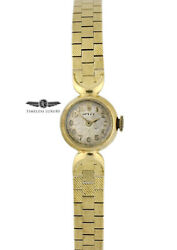 Vintage 1957 Ladies Rolex Cocktail Watch 18k Yellow Gold 15mm White Dial
