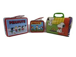 Peanuts Vintage Tin Lunch Boxes 3 Units 50th Anniversary Included