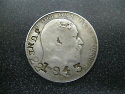 1907 King Edward Vii Silver 1/2 Crown Counter Stamp June 22 1943 / Ag From At